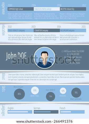 Blue white striped resume design with photo and details - stock vector