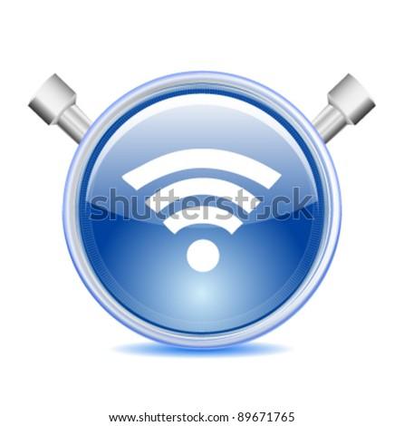Blue Wi-fi Icon - stock vector