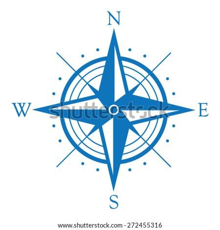 Blue wind rose symbol - stock vector