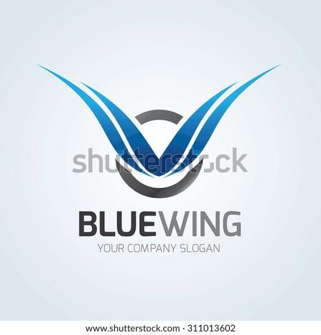 Blue Wing logo,wing logo,eagle logo,freedom,blue logo,auto logo,Vector Logo template. - stock vector