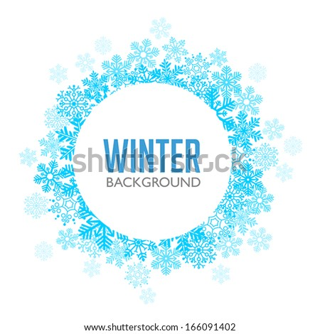 Blue Winter Background with Snowflakes - stock vector