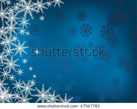 Blue winter background with snowflakes on the left. Holiday image - stock vector