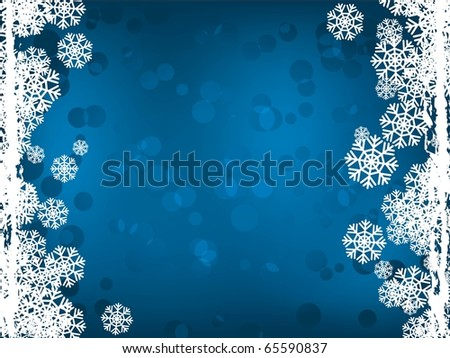 blue winter background with snowflakes side. Holiday image - stock vector