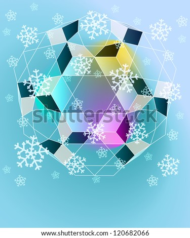 blue winter geometry with falling snow card vector template - stock vector