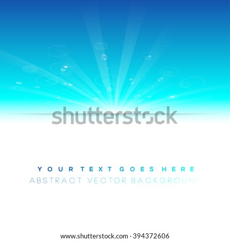 Blue winter sun, cool background with white copyspace area - stock vector