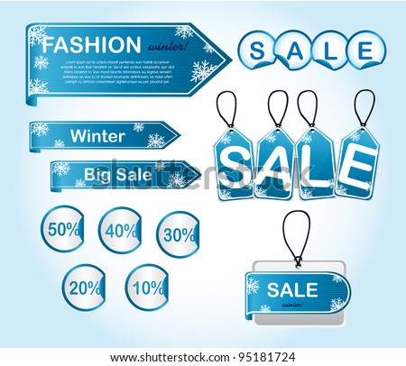 blue winter tags with snowflakes. vector illustration - stock vector
