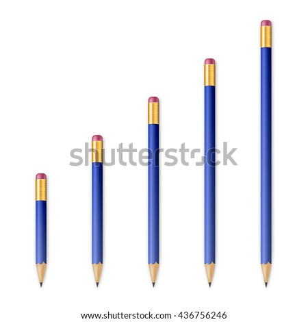 Blue wooden sharp pencils