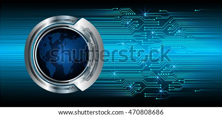 blue world abstract cyber future technology concept background, illustration, circuit, binary code. move motion speed. sci-fi. vector, Safety, Closed Padlock on digital