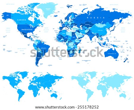 Blue World Map - borders, countries and cities - illustration World maps with different specification. 1 - highly detailed: countries, cities, water objects 2 - country contours 3 - world contours  - stock vector