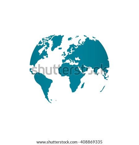 Blue world map globe vector illustration vector de stock408869335 blue world map globe vector illustration isolated on white background stylized in sphere shape gumiabroncs Image collections
