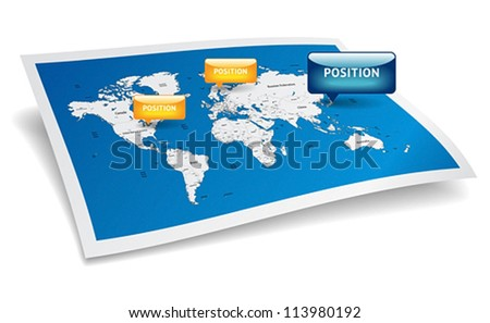 Blue World map with gps marks. Vector saved as eps-10, file contains objects with transparency. - stock vector