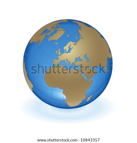 blue world with gold continents