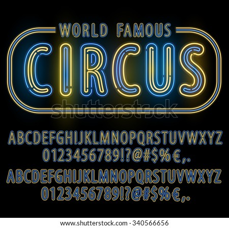 Blue Yellow Circus style Neon Light Double Stroke Alphabet Set for Signs. Realistic vector font set