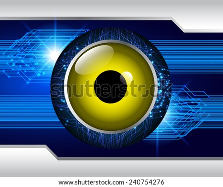 blue yellow Light Abstract Technology background for computer graphic website and internet, circuit board. eye - stock vector