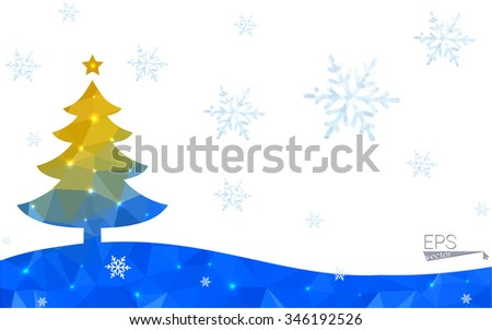 Blue, yellow postcard low polygon style christmas tree vector illustration consisting of triangles. Abstract polygonal origami or crystal design of New Years celebration. Isolated on white background.