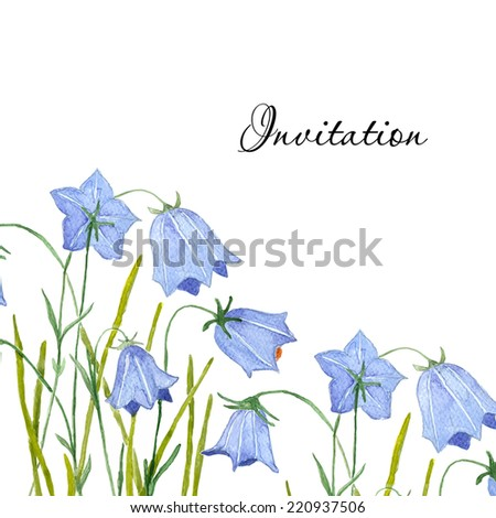 bluebell flowers greeting or invitation vector card watercolor drawing hand drawn aquarel illustration