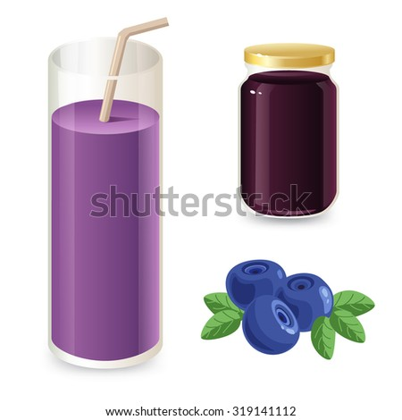 Blueberry jam and cocktail isolated on white background
