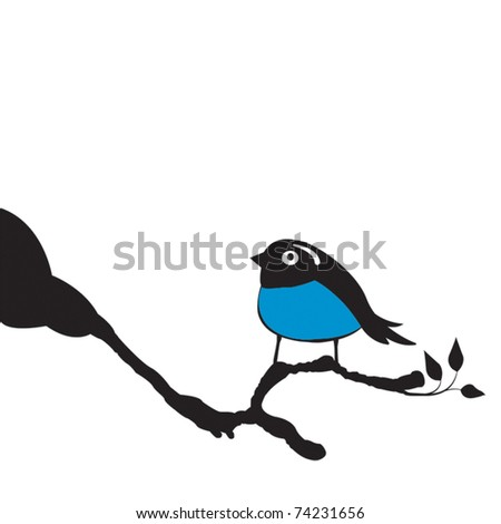 Bluebird perched on top of a Magnolia tree greeting the beginning of spring, vector illustration - stock vector