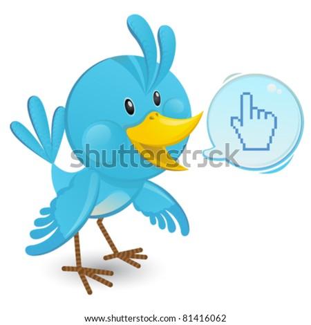 Bluebird with a speech bubble - stock vector