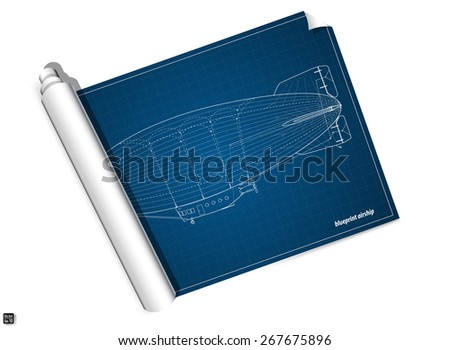 Blueprint airship. Vector illustration eps 10  - stock vector