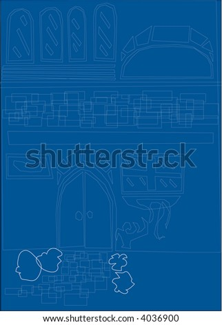 Blueprint architectural drawing draft of building facade - stock vector