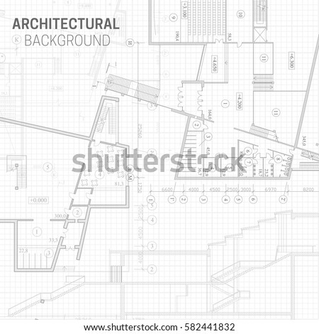 Blueprint Vector Architectural Drawing Background Stock Vector