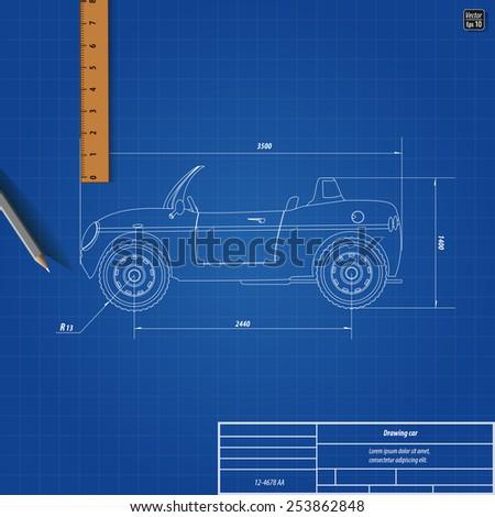 Blueprint Cars Children Vector Illustration Eps Stock Photo (Photo ...