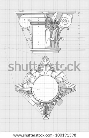 Blueprint chapiter hand draw sketch composite stock vector hd blueprint chapiter hand draw sketch composite architectural order based the five orders of malvernweather Choice Image