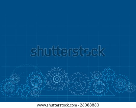 Blueprint cog background - stock vector