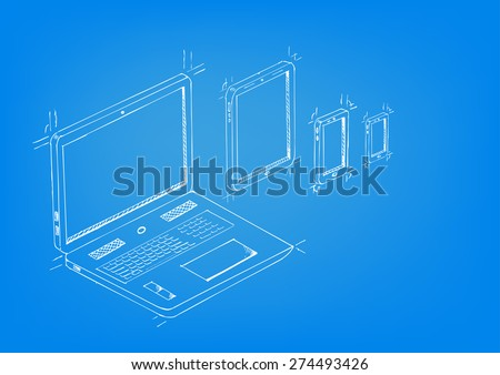 Blueprint concept artwork with Laptop, Tablet, mobile phones Editable EPS10 vector. - stock vector