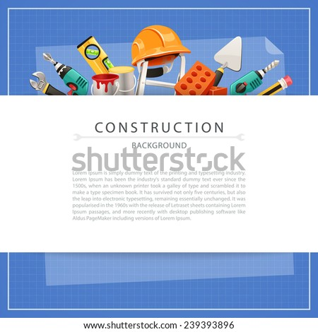 Blueprint Construction Background with Copy Space. In the EPS file, each element is grouped separately. - stock vector