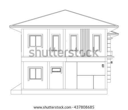 Blueprint drawing 3d home building side stock vector for Building house with side views