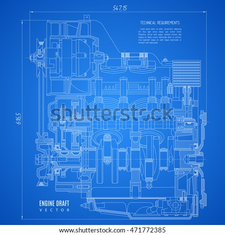 Blueprint engine project technical drawing on vector de blueprint engine project technical drawing on the blue background stock vector illustration eps10 malvernweather Images