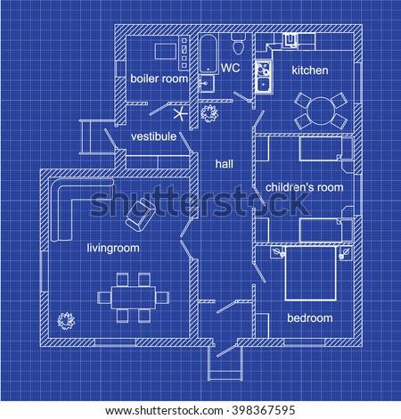 Blueprint floor plan modern apartment on stock vector 2018 blueprint floor plan of a modern apartment on graph paper vector illustration malvernweather Choice Image