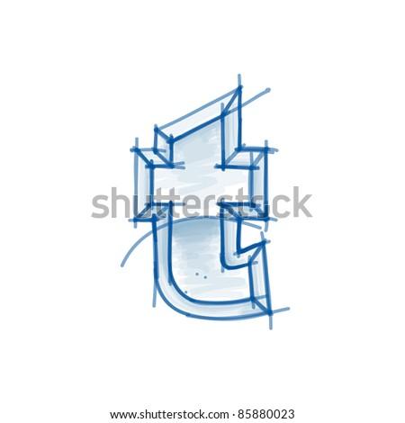 Blueprint font sketch - letter t - marker drawing - stock vector