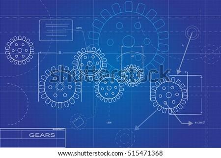 Blueprint gears illustration on blue background vector de blueprint gears illustration on a blue background malvernweather Gallery