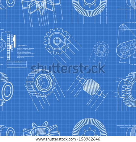 blueprint gears seamless pattern - stock vector