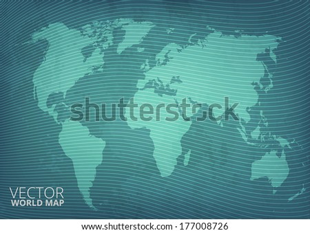 Blueprint grunge style green world map vector background with abstract waves