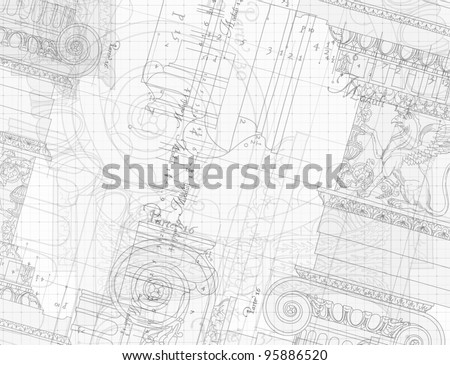 Blueprint - hand draw sketch ionic architectural order - stock vector