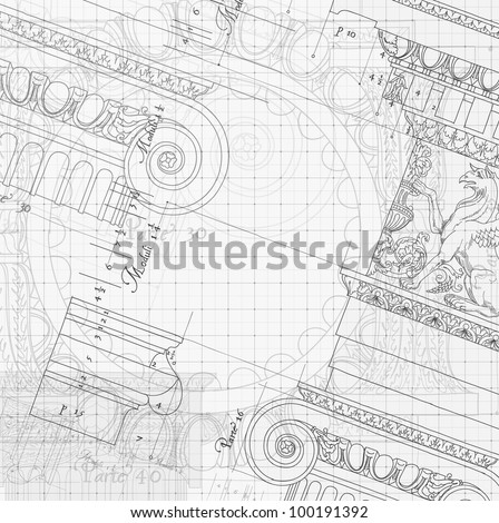 Blueprint hand draw sketch ionic architectural stock vector 2018 blueprint hand draw sketch ionic architectural order based the five orders of architecture malvernweather Choice Image