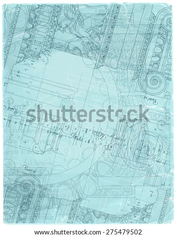 Blueprint hand draw sketch ionic architectural stock vector blueprint hand draw sketch ionic architectural order based the five orders of architecture malvernweather Image collections