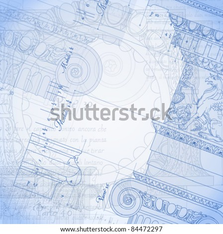 """Blueprint. Hand draw sketch ionic architectural order based """"The Five Orders of Architecture"""" is a book on architecture by Giacomo Barozzi da Vignola from 1593. - stock vector"""