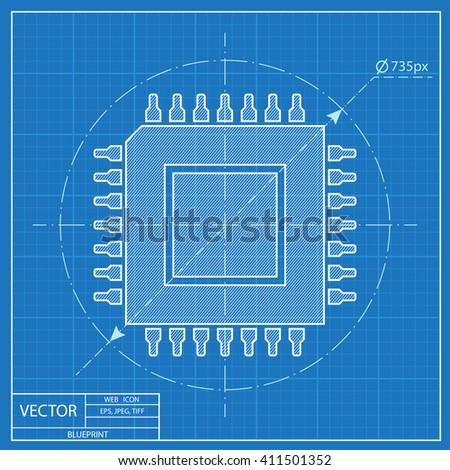 Blueprint icon microchip stock vector 411501352 shutterstock blueprint icon of microchip malvernweather Images