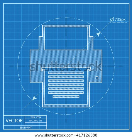 Blueprint icon printer stock vector 417126388 shutterstock blueprint icon of printer malvernweather Choice Image