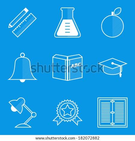 Blueprint icon set education vectores en stock 182072882 shutterstock blueprint icon set education malvernweather Images