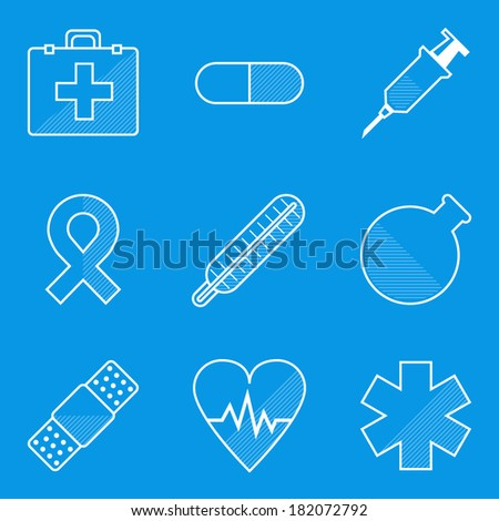 Blueprint icon set. Medical