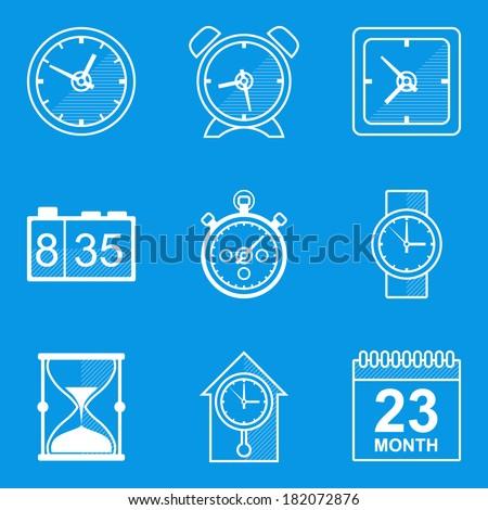 Blueprint icon set. Time. Clock  - stock vector