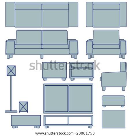 Blueprint living room furniture vector multiple stock photo photo blueprint living room furniture vector multiple views malvernweather Images