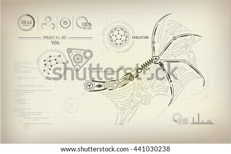 Blueprint ai invention blueprint robot wing stock vector 2018 blueprint of ai invention blueprint of robot wing abstract technology abstract science malvernweather Image collections