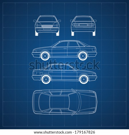 Car blueprint stock images royalty free images vectors blueprint of commercial vehicle car 5 views malvernweather Image collections